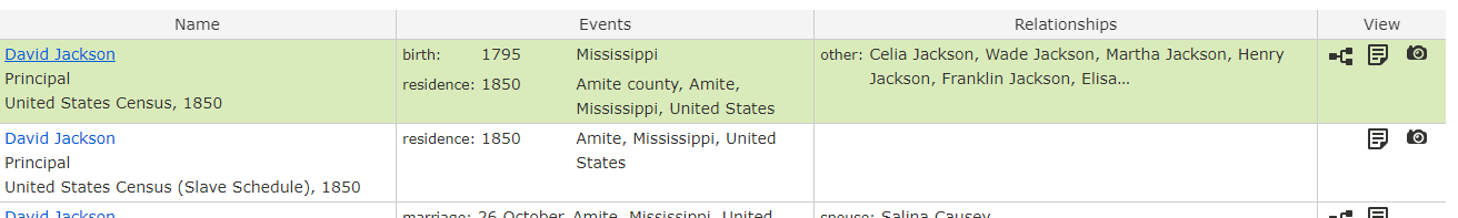 African American Genealogy by popular US professional genealogy services, Price Genealogy: screen shot of African American ancestry information.