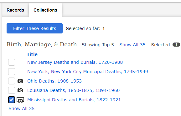 African American Genealogy by popular US professional genealogy services, Price Genealogy: screen shot image of online birth, marriage and death results.