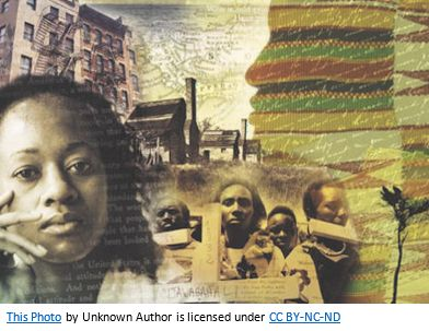 African American Genealogy by popular US professional genealogy services, Price Genealogy: collage image of African Americans, buildings, and tribal prints.