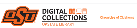 Oklahoma Pioneer by popular US professional genealogy services, Lineages: digital image of the OKstate library logo.