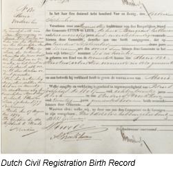 Civil Registration by popular US professional genealogy services, Lineages: image of Dutch civil registration birth record.