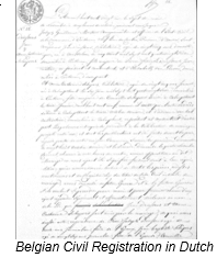 Civil Registration by popular US professional genealogy services, Lineages: image of a Belgian civil registration in Dutch.