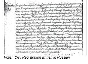 Civil Registration by popular US professional genealogy services, Lineages: image of Polish civil registration.