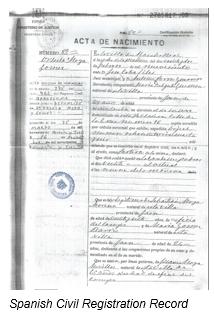 Civil Registration by popular US professional genealogy services, Lineages: image of Spanish civil registration.