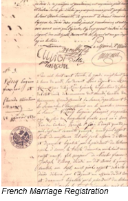 Napoleonic Code by popular US professional genealogy services, Lineages: image of a French marriage registration