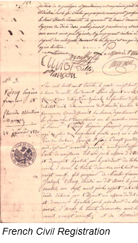 Civil Registration by popular US professional genealogy services, Lineages: image of French civil registration.