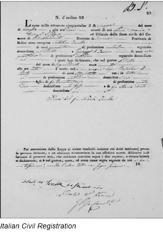 Civil Registration by popular US professional genealogy services, Lineages: image of Italian civil registration.