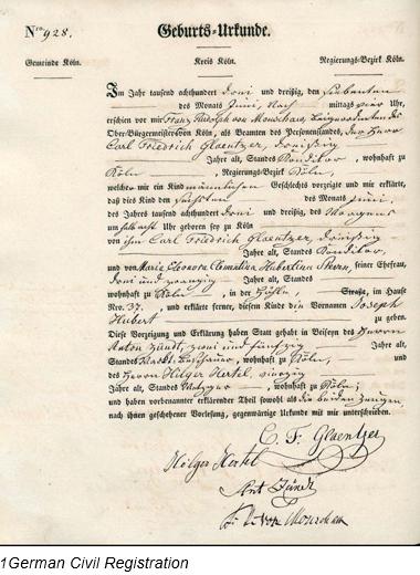 Civil Registration by popular US professional genealogy services, Lineages: image of German civil registration.