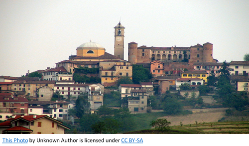 Italian Ancestors by popular US genealogy services, Lineages: image of an Italian hilltop city.