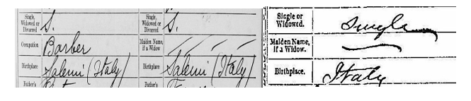 Italian Ancestors by popular US genealogy services, Lineages: image of an Italian marriage record.