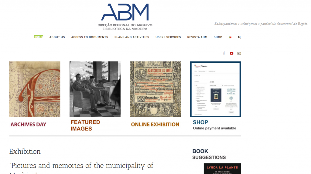 Madeira Research by popular US professional genealogy services, Lineages: screenshot image of Direct regional do arquivro e bibliotheca da madeira.