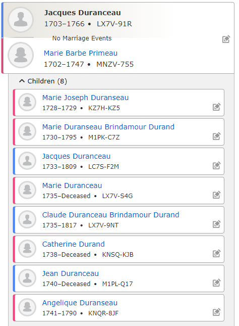 Canada Genealogy by popular US professional genealogy services, Lineages: image of Family Search family tree.