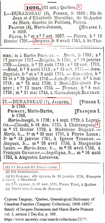 Canada Genealogy by popular US professional genealogy services, Lineages: image of a French Canadian obituary.